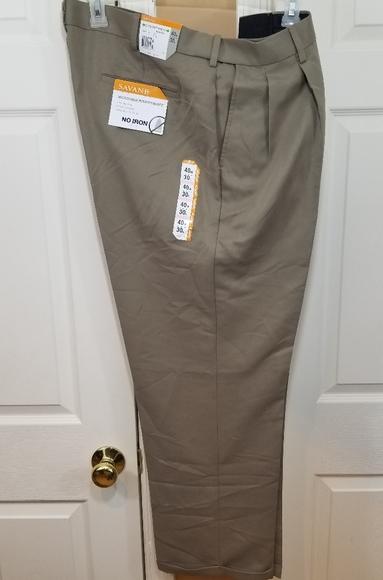 Savane Mens Comfort Waist Pleated Dress Pants Charcoal 40x30 Size